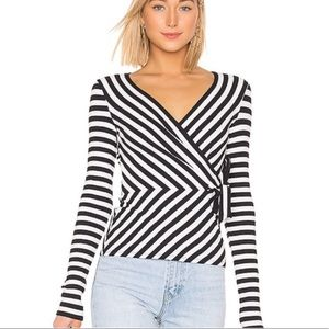 Bailey 44 Toe The Line Rib Striped Faux Wrap Top S
